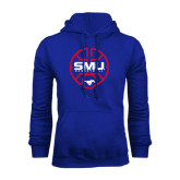 Royal Fleece Hoodie-SMU Basketball Block Stacked in Circle