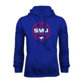 Royal Fleece Hoodie-SMU Basketball Block Stacked in Circle