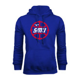 Royal Fleece Hoodie-SMU Basketball Block in Circle