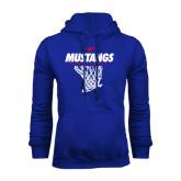 Royal Fleece Hoodie-Mustangs Basketball Stacked w/ Net