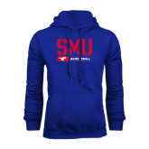 Royal Fleece Hoodie-SMU Basketball Stencil