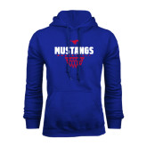 Royal Fleece Hoodie-Mustangs Basketball Net Icon