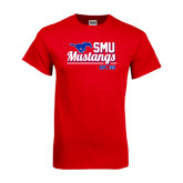 Red T Shirt-Stacked SMU Mustangs Design