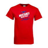 Red T Shirt-Angled Mustangs in Basketball