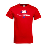 Red T Shirt-Stacked Cross Country Design