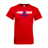Red T Shirt-#PonyUpTempo Above Mustang