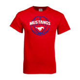 Red T Shirt-Mustangs Basketball Arched w/ Ball