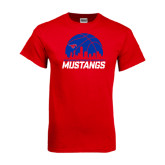 Red T Shirt-Mustangs Basketball Dallas Skyline