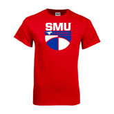 Red T Shirt-SMU Basketball Stacked on Ball