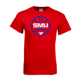 Red T Shirt-SMU Basketball Block Stacked in Circle