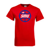 Red T Shirt-SMU Basketball Block in Circle