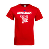 Red T Shirt-Mustangs Basketball Stacked w/ Net