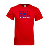 Red T Shirt-SMU Basketball Stencil