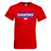 Red T Shirt-2017 AAC Regular Season Champions - Mens Basketball Stencil