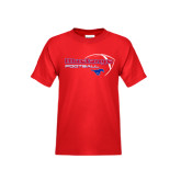 Youth Red T Shirt-Football Outline Design