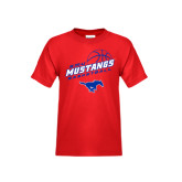 Youth Red T Shirt-Angled Basketball Design