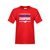 Youth Red T Shirt-2017 AAC Regular Season Mens Basketball Champions Stacked