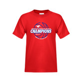 Youth Red T Shirt-AAC Regular Season Champions 2017 Mens Basketball Lined Ball