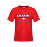 Youth Red T Shirt-2017 AAC Regular Season Champions - Mens Basketball Stencil