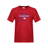 Youth Red T Shirt-2017 AAC Conference Champions - Mens Basketball Contour Lines