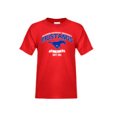 Youth Red T Shirt-Arched Mustangs w/ Banner