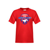 Youth Red T Shirt-Mustangs in Shield