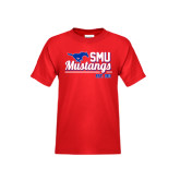 Youth Red T Shirt-Stacked SMU Mustangs Design