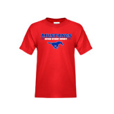 Youth Red T Shirt-Stacked Athletic Mustangs Design