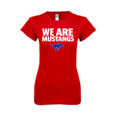 Next Level Ladies SoftStyle Junior Fitted Red Tee-We Are Mustangs