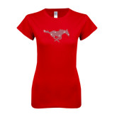 Next Level Ladies SoftStyle Junior Fitted Red Tee-Rhinestone Pony