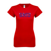 Next Level Ladies SoftStyle Junior Fitted Red Tee-Rhinestone SMU