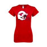 Next Level Ladies SoftStyle Junior Fitted Red Tee-SMU Football Helmet