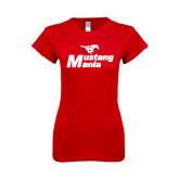 Next Level Ladies SoftStyle Junior Fitted Red Tee-Mustang Mania