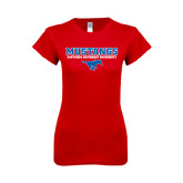 Next Level Ladies SoftStyle Junior Fitted Red Tee-Stacked Mustangs w/ Pony