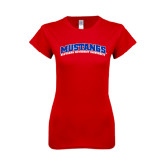 Next Level Ladies SoftStyle Junior Fitted Red Tee-Arched Mustangs