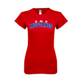 Next Level Ladies SoftStyle Junior Fitted Red Tee-Arched SMU Mustangs