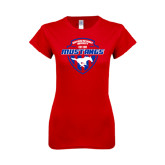 Next Level Ladies SoftStyle Junior Fitted Red Tee-Mustangs in Shield