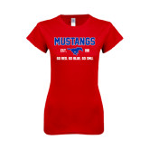 Next Level Ladies SoftStyle Junior Fitted Red Tee-Stacked Mustangs Design