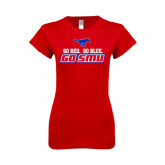 Next Level Ladies SoftStyle Junior Fitted Red Tee-Go Red Go Blue Go SMU