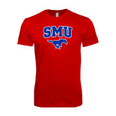 SoftStyle Red T Shirt-SMU w/Mustang