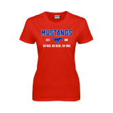 Ladies Red T Shirt-Stacked Mustangs Design