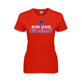 Ladies Red T Shirt-Go Red Go Blue Go SMU