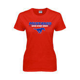 Ladies Red T Shirt-Stacked Athletic Mustangs Design