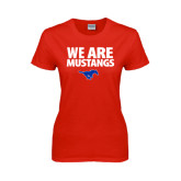 Ladies Red T Shirt-We Are Mustangs