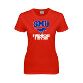 Ladies Red T Shirt-Swimming and Diving