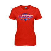 Ladies Red T Shirt-Mustangs in Football