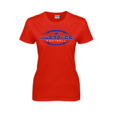 Ladies Red T Shirt-Athletic Mustangs in Football