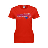 Ladies Red T Shirt-Football Outline Design