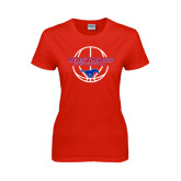 Ladies Red T Shirt-Mustang in Basketball