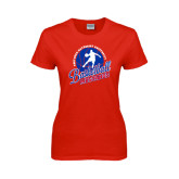 Ladies Red T Shirt-Player on Basketball Design